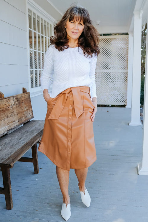 Shyla Vegan Leather Skirt (Cashew)