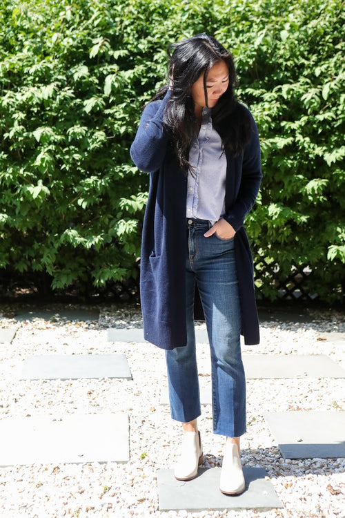 Open Cashmere Cardigan (Navy)