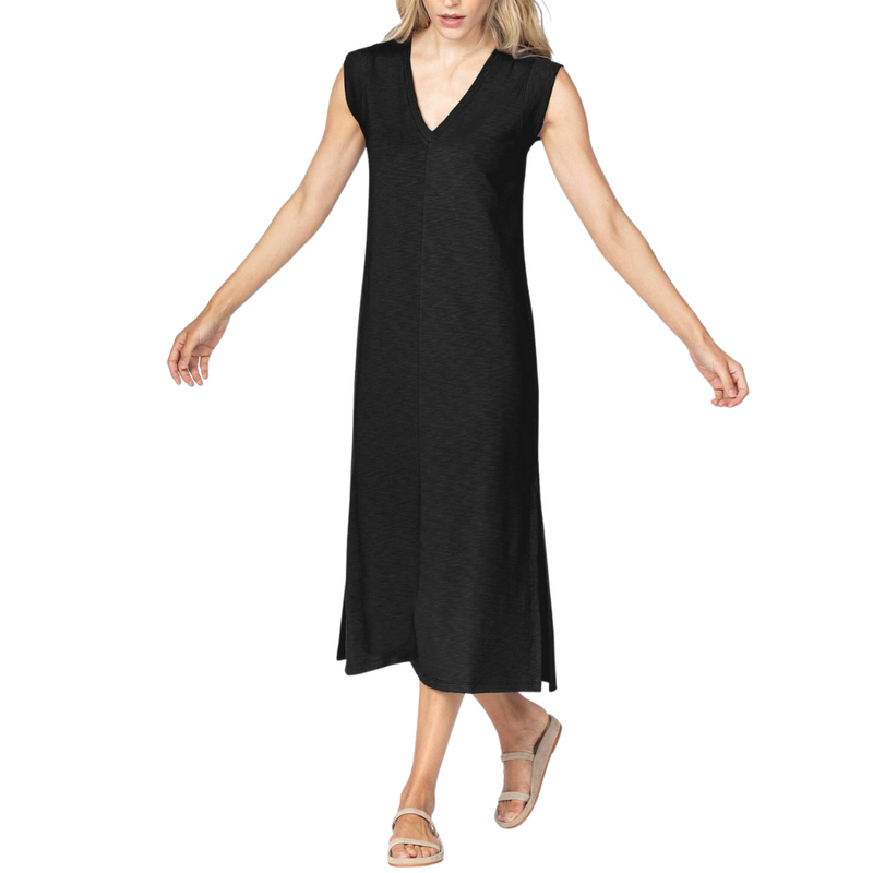 VNeck Rib Sleeve Midi Dress (Black)