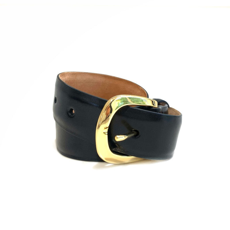 Glazed Calf Belt with Gold Buckle (Black)