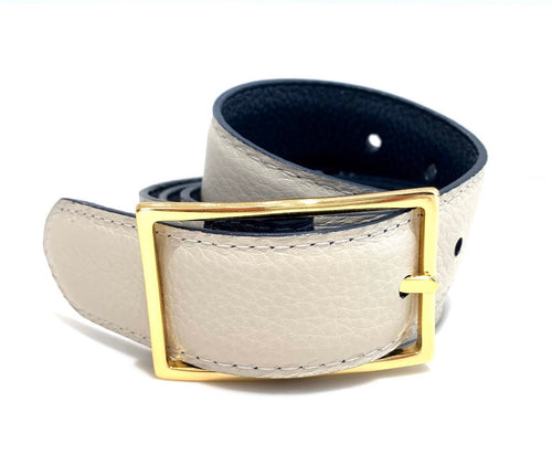Reversible Leather Belt with Gold Buckle