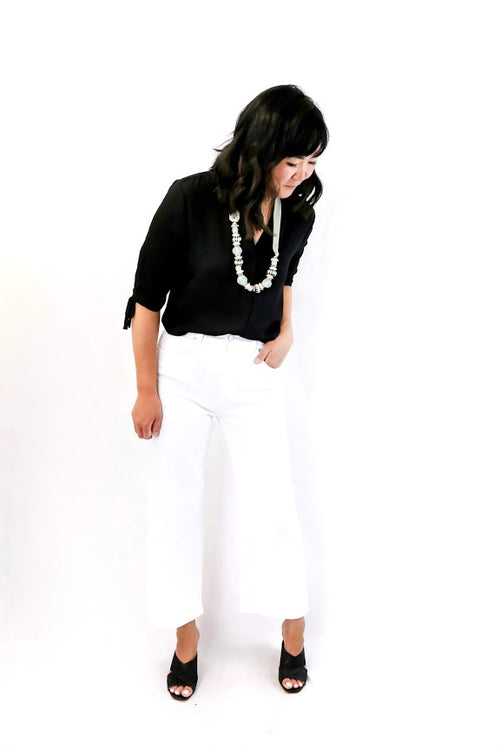 Sunday High Rise Wide Leg Denim (White)
