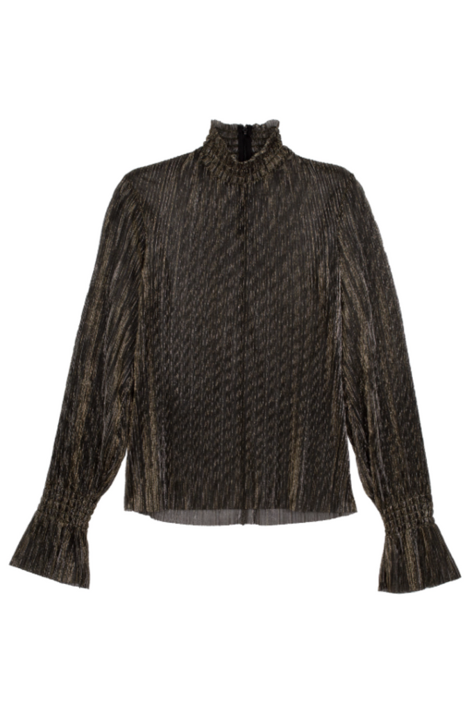 L'Agence Paola Long Sleeve Turtleneck Blouse with Gathered Ruffle Cuffs in Semi-Sheer Gold Metallic