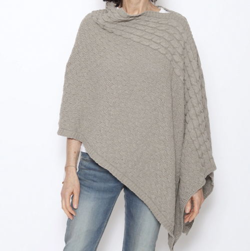 Roll Neck Poncho Taupe