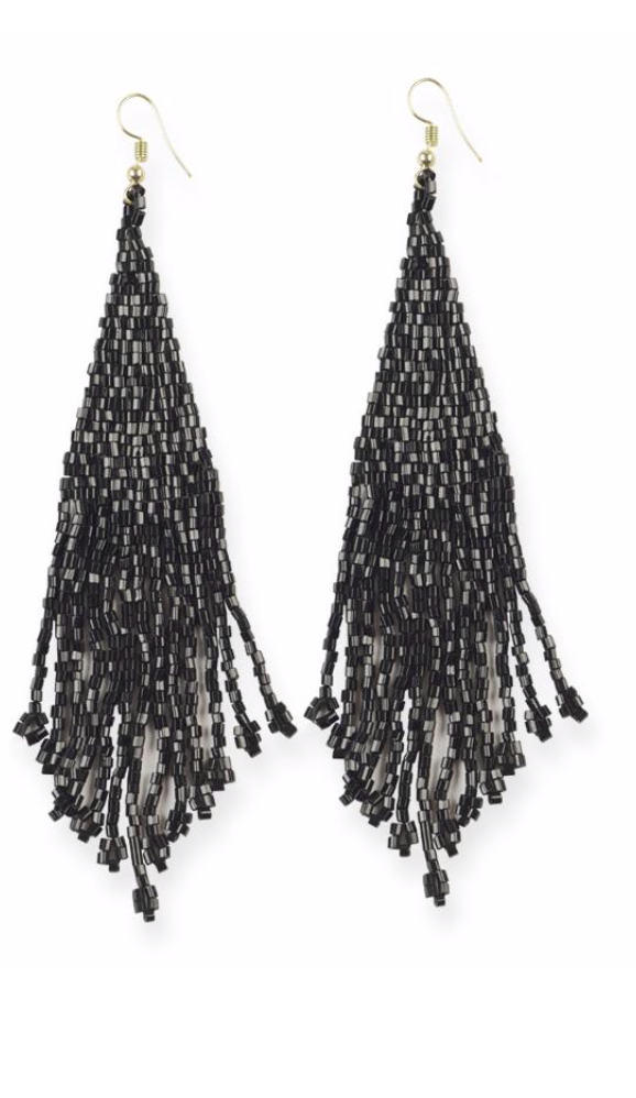 Metallic Long Fringe Earrings