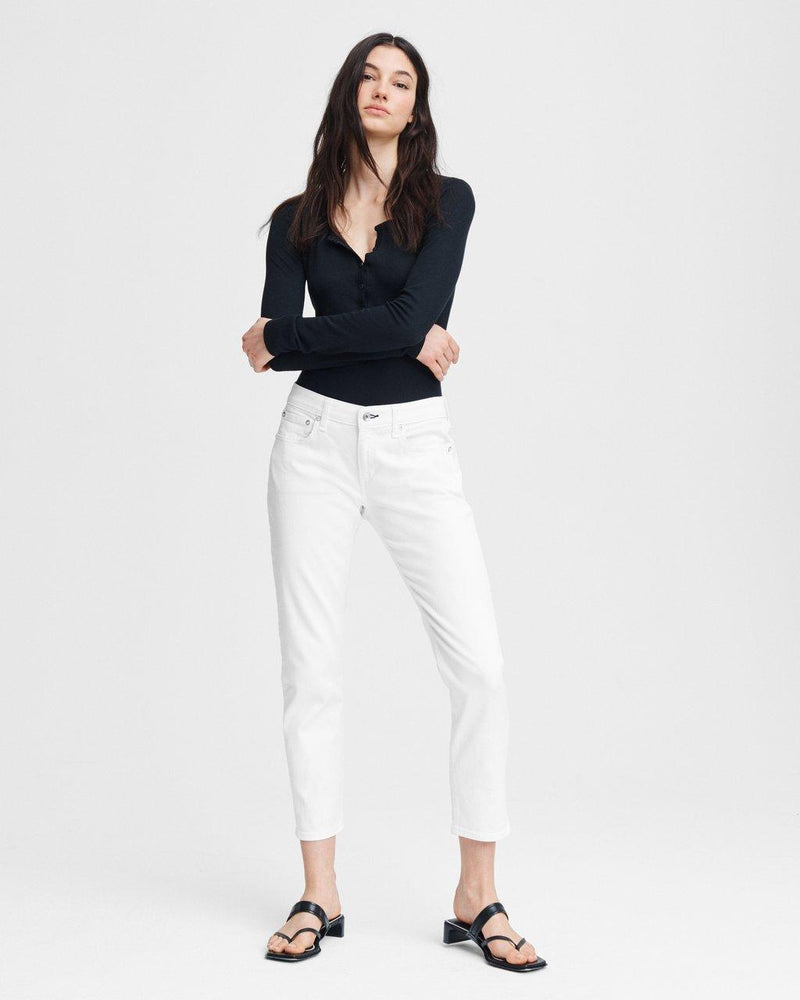 Dre Low-Rise Slim Boyfriend Denim (White)