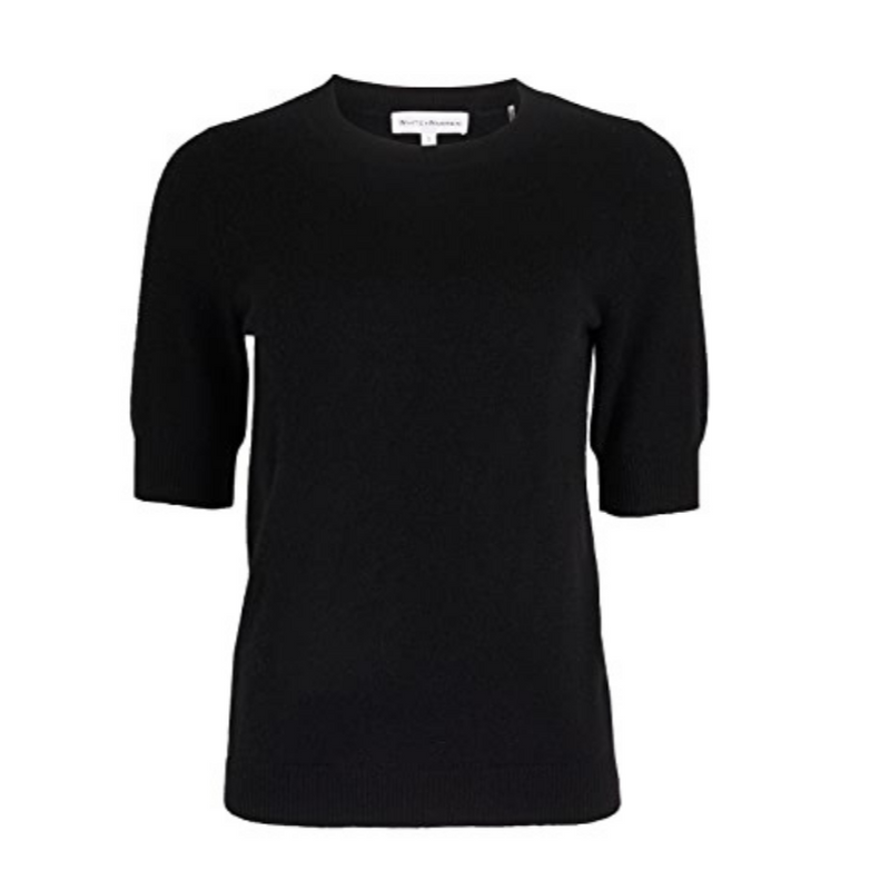Elbow Sleeve Crew Neck Tee (Black)