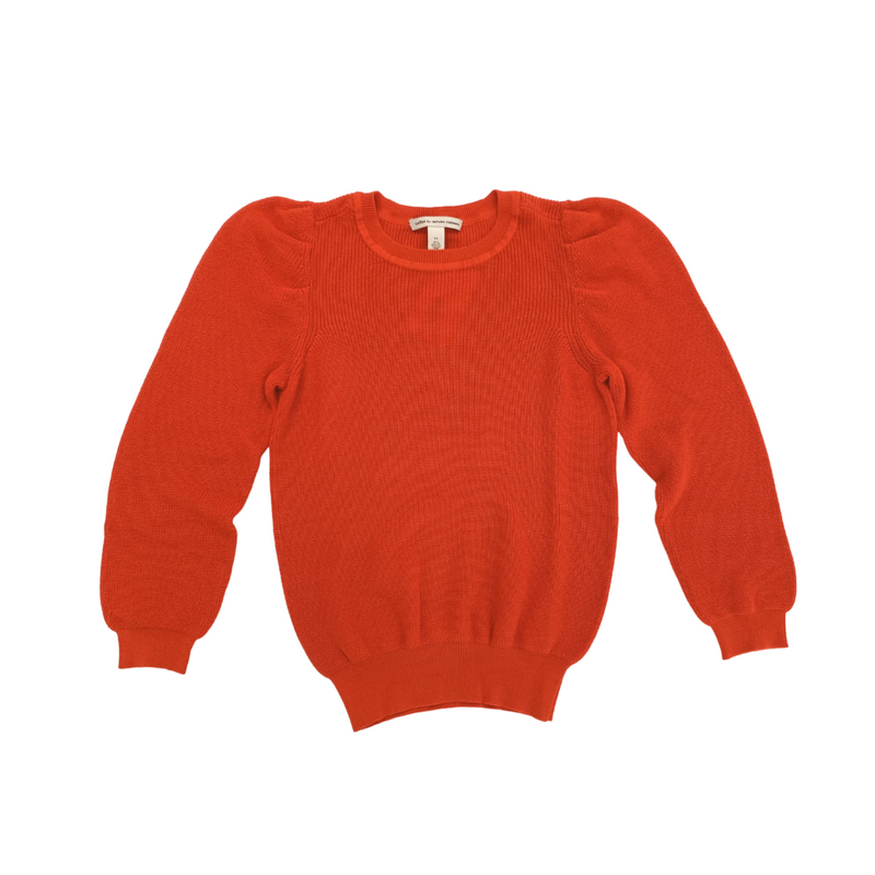 Puff Sleeve Shaker Crew Sweater (Ketchup)