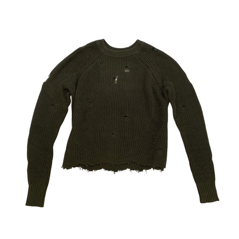 Distressed Shaker Crew Sweater (Moss)