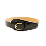 Black Glazed Calf Large Tab Belt with Gold Buckle