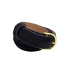 Chocolate Calf Hair Belt with Gold Buckle