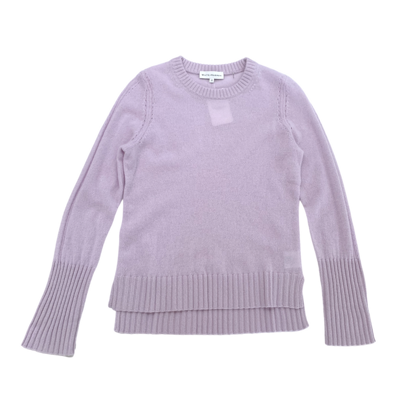 Pointelle Crew Neck Sweater (Silver Iris)