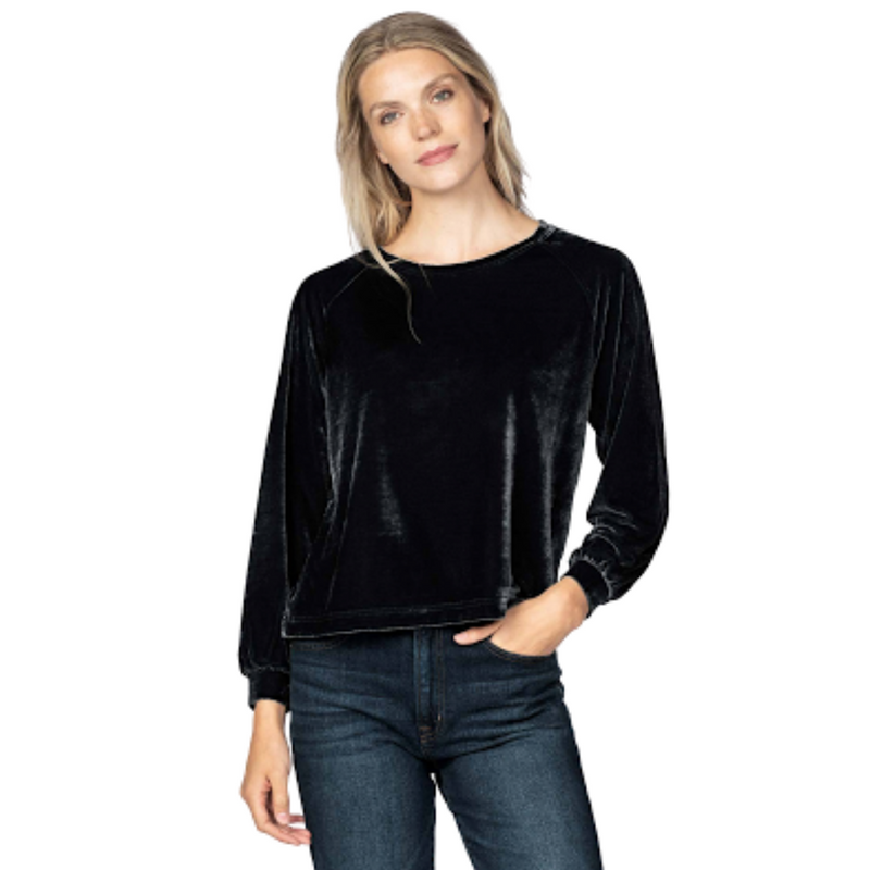 Long Sleeve Velvet Top (Black)