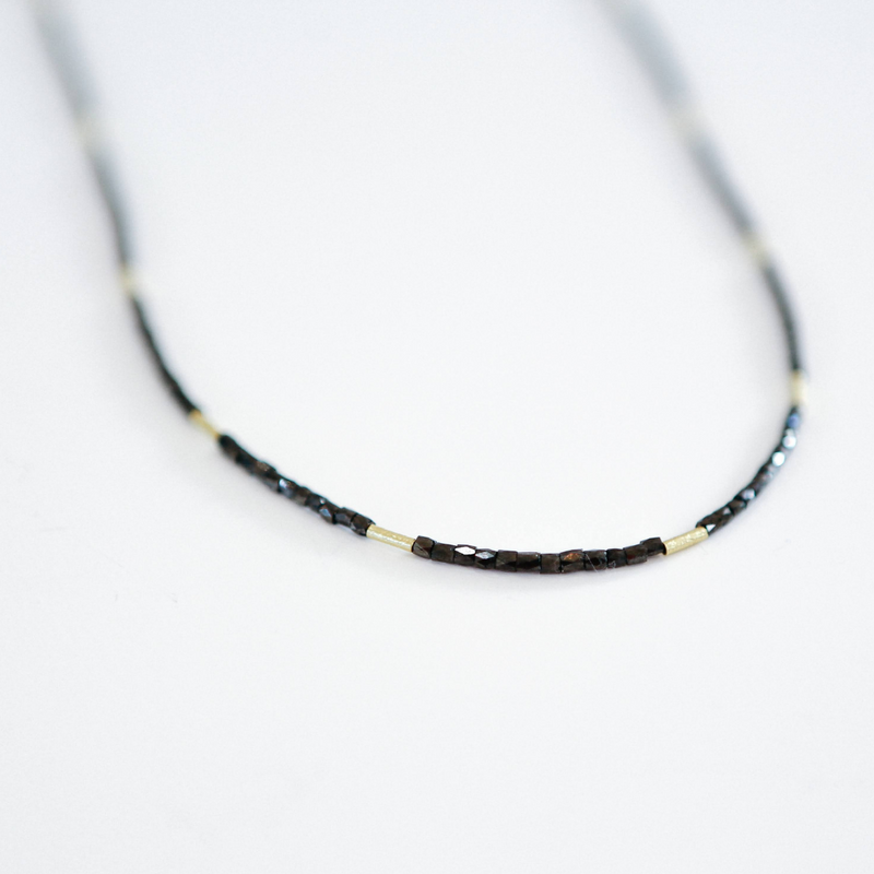 "Black Diamond Bead and Gold Bead 20"" Necklace"