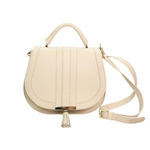 Midi Venice Top Handle Bag in Ivory Textured