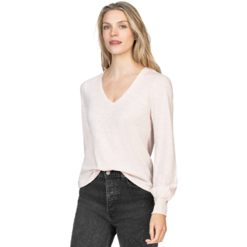 Long Sleeve V-Neck Tee (Petal)