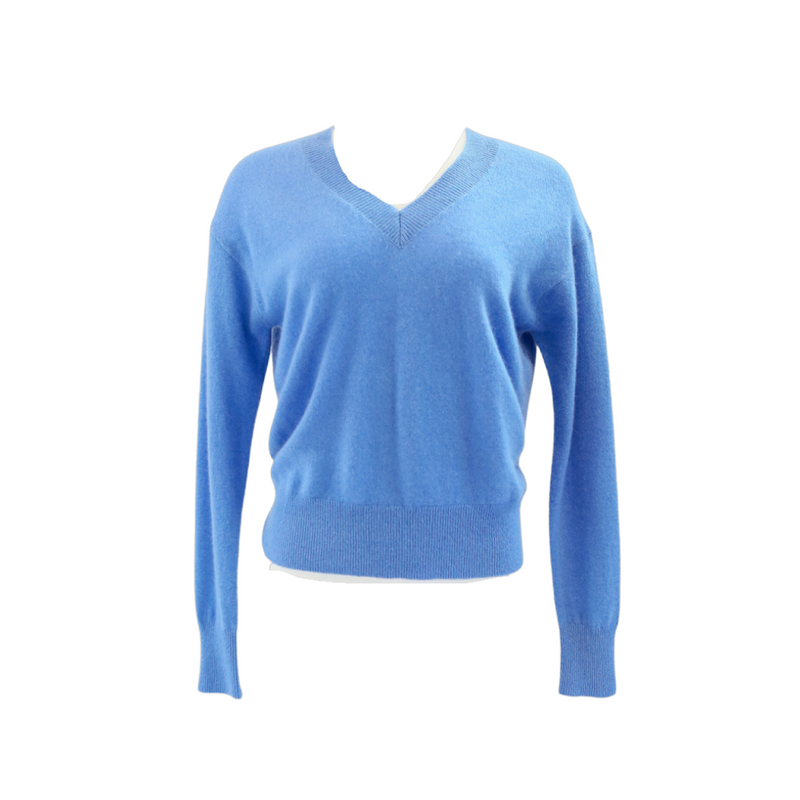 Long Sleeve V-Neck Sweater (Blue Daisy)
