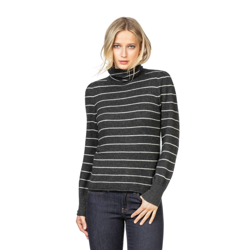 Striped Turtleneck Cashmere Sweater