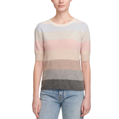 Striped Elbow Sleeve Sweater (Pastel)