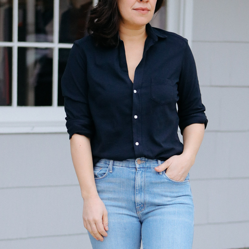Eileen Button Down Shirt (Navy Voile)