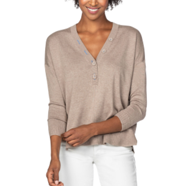 Oversized Button Henley Sweater (Flax)