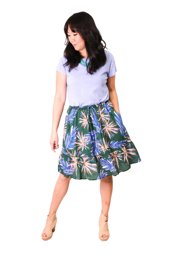 Trovata Isabel Short Tiered Ruffle Skirt in Palm Print Cotton