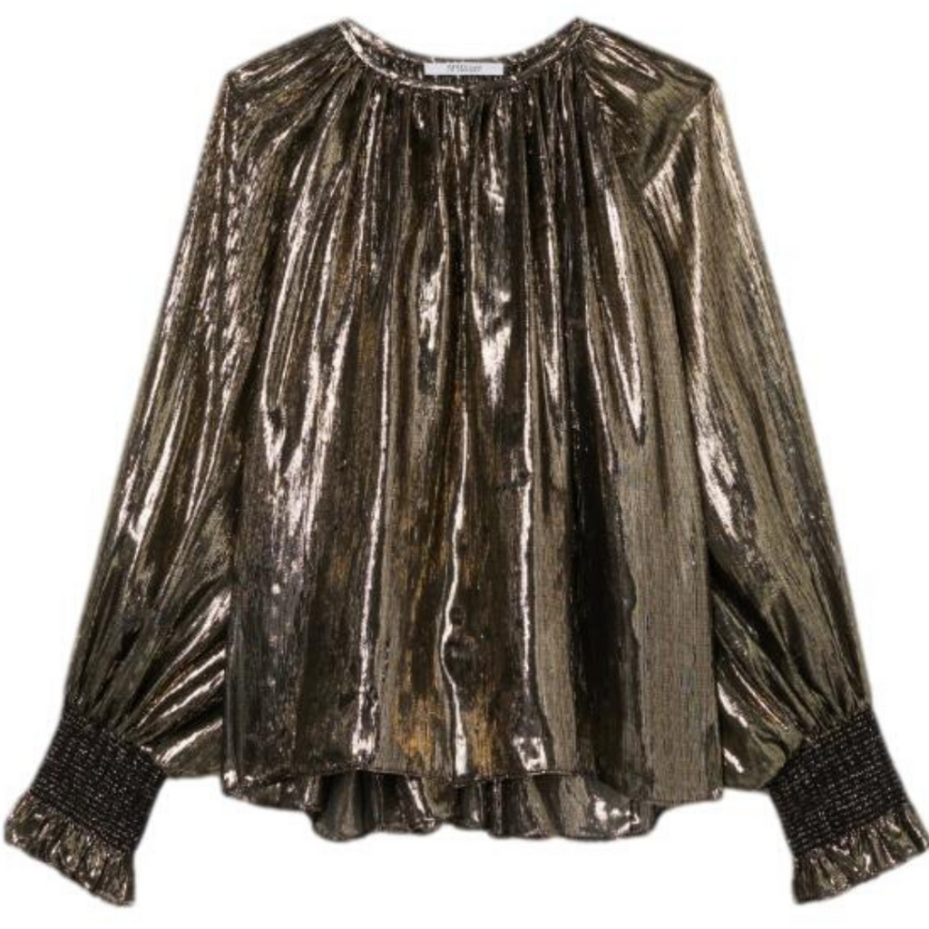 Derek Lam Helena Pleated Blouse Black Gold Metallic Party Holiday Top