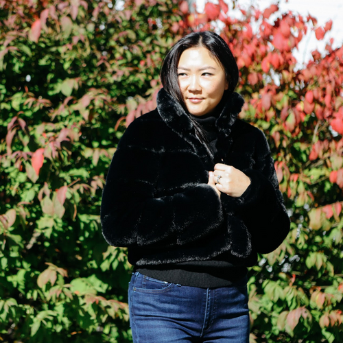 Short Faux Fur Jacket with Rows (Black)