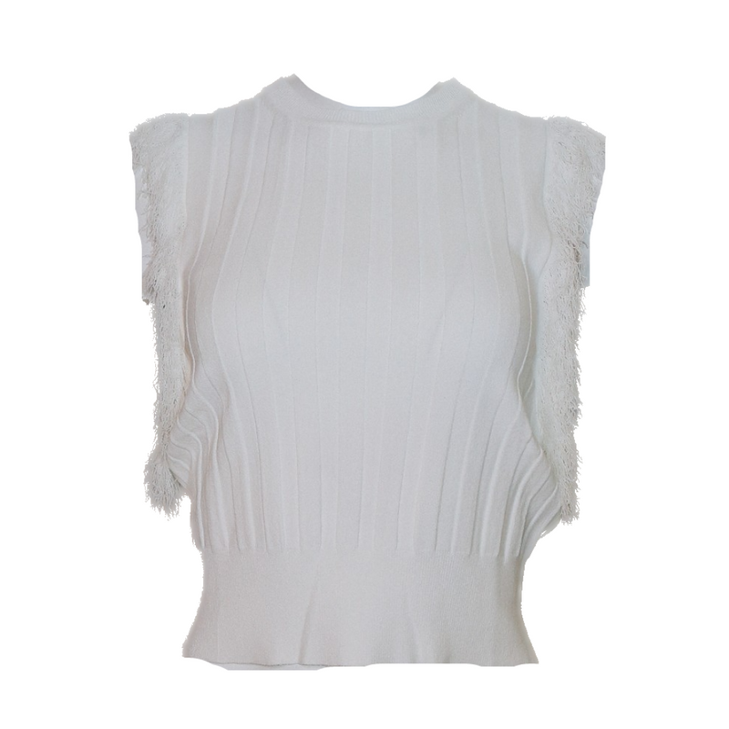 Viscose Linen Sleeveless Rib Fringe Crew (White)