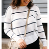 Linen Striped Crewneck (White/Deep Water)