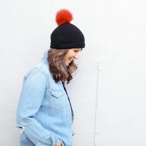 Beanie with Contrast Fur Pom Pom (Black Ruby)