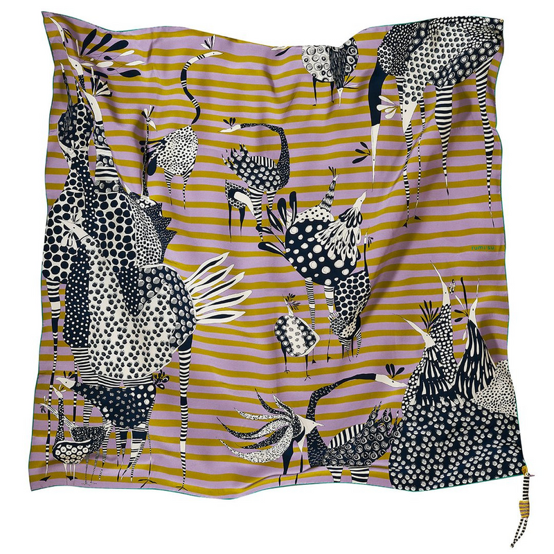 Birds of a Feather 137x137 Silk Scarf Lilac & Mustard