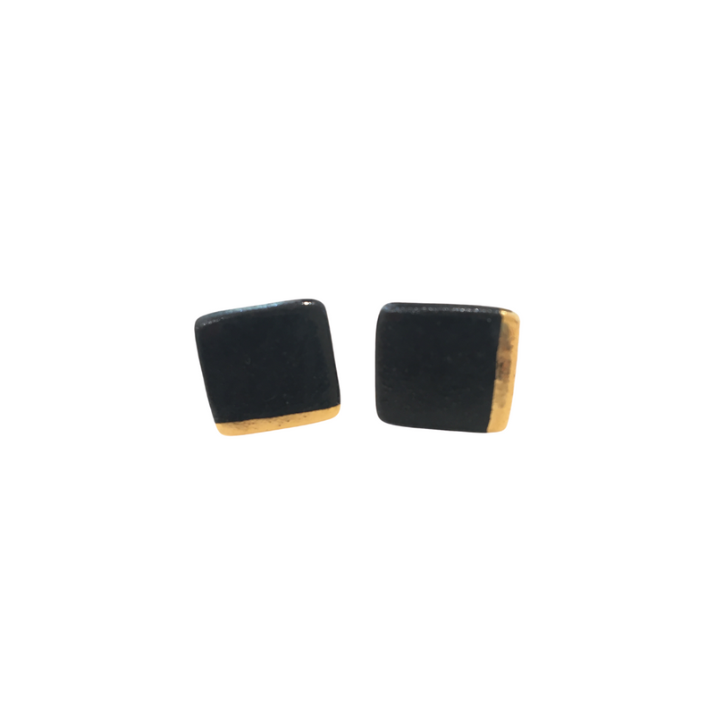 Square Edged with Gold Earrings (Black)