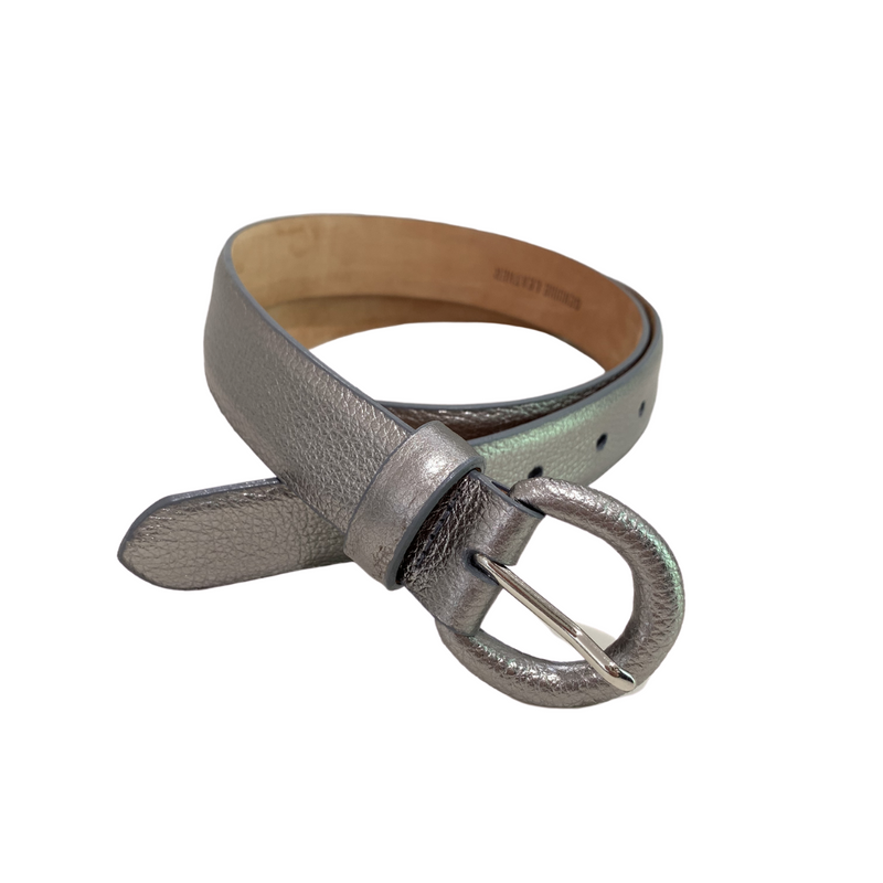 Metallic Belt with Covered Buckle