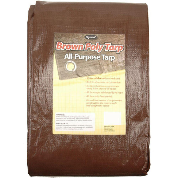 Sigman 10' x 12' Brown Economy Tarp - 15-Pack