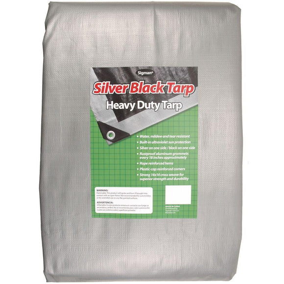 Sigman 6' x 8' Silver Black Heavy Duty Tarp - 20-pack