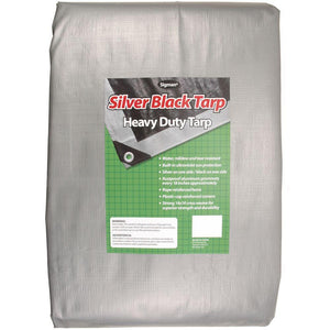Sigman 8' x 10' Silver Black Heavy Duty Tarp - 15-pack
