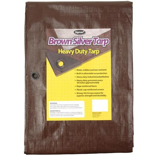 Sigman 6' x 8' Brown Silver Heavy Duty Tarp - 20-pack