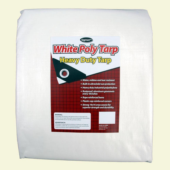 Sigman 12' x 20' White Heavy Duty Tarp - 5-Pack