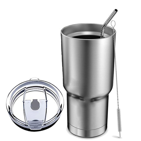 TEENRA  Stainless Steel Tumbler Cup With Lid Straw 30 Oz Double Wall Vacuum flask Insulated Beer Cup Drinking Thermoses Coffee