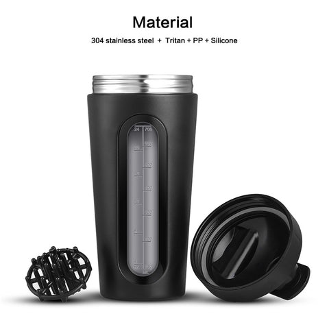 700ml Protein Shaker Stainless Steel Water Bottle Outdoor Gym Sports Fitness Training Drink Powder Milk Mixer My Water Bottle