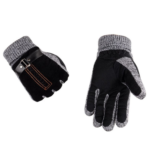 Winter Men Leather Gloves Cashmere Thick Warm Soft Mittens Full Finger Tactical Glove Thermal Male Workout Ski Driving Gloves