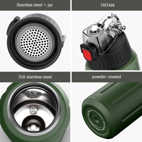 FEIJIAN Sport Thermos bottle 316 stainless steel tumbler water Flask with TRITAN Double Wall Vacuum Insulated Leak Proof