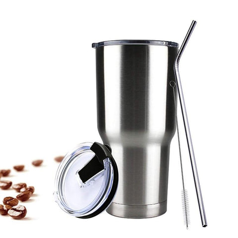 30 ounce cup with spill proof lid and straws