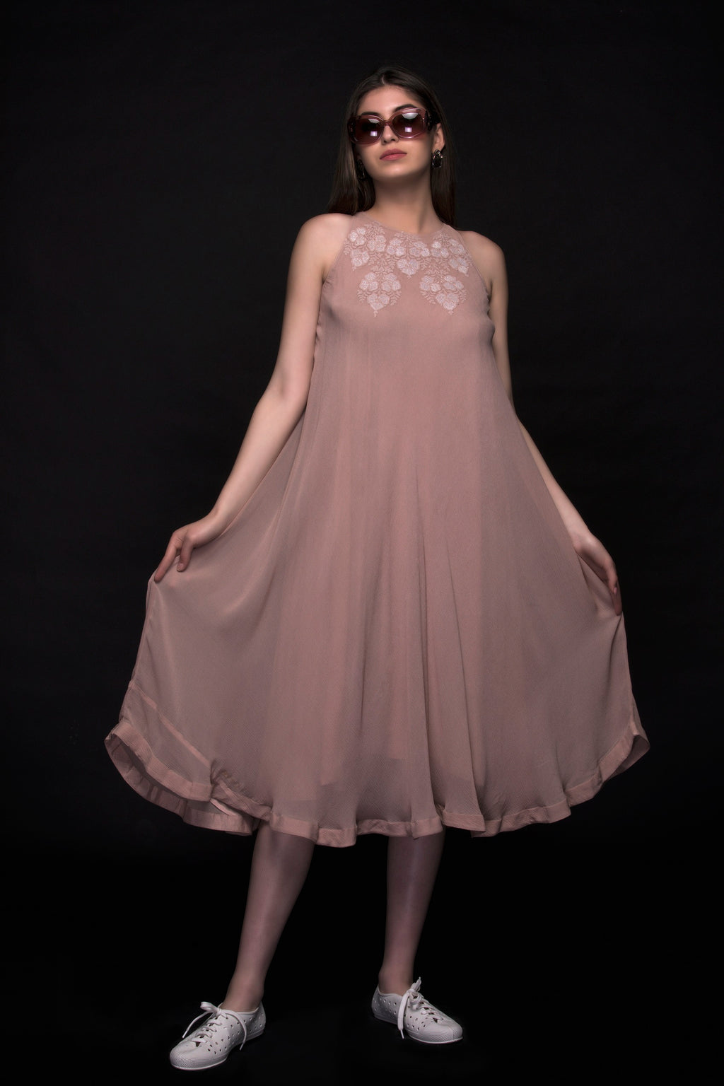 Rose Wax Pure Silk Chiffon Dress