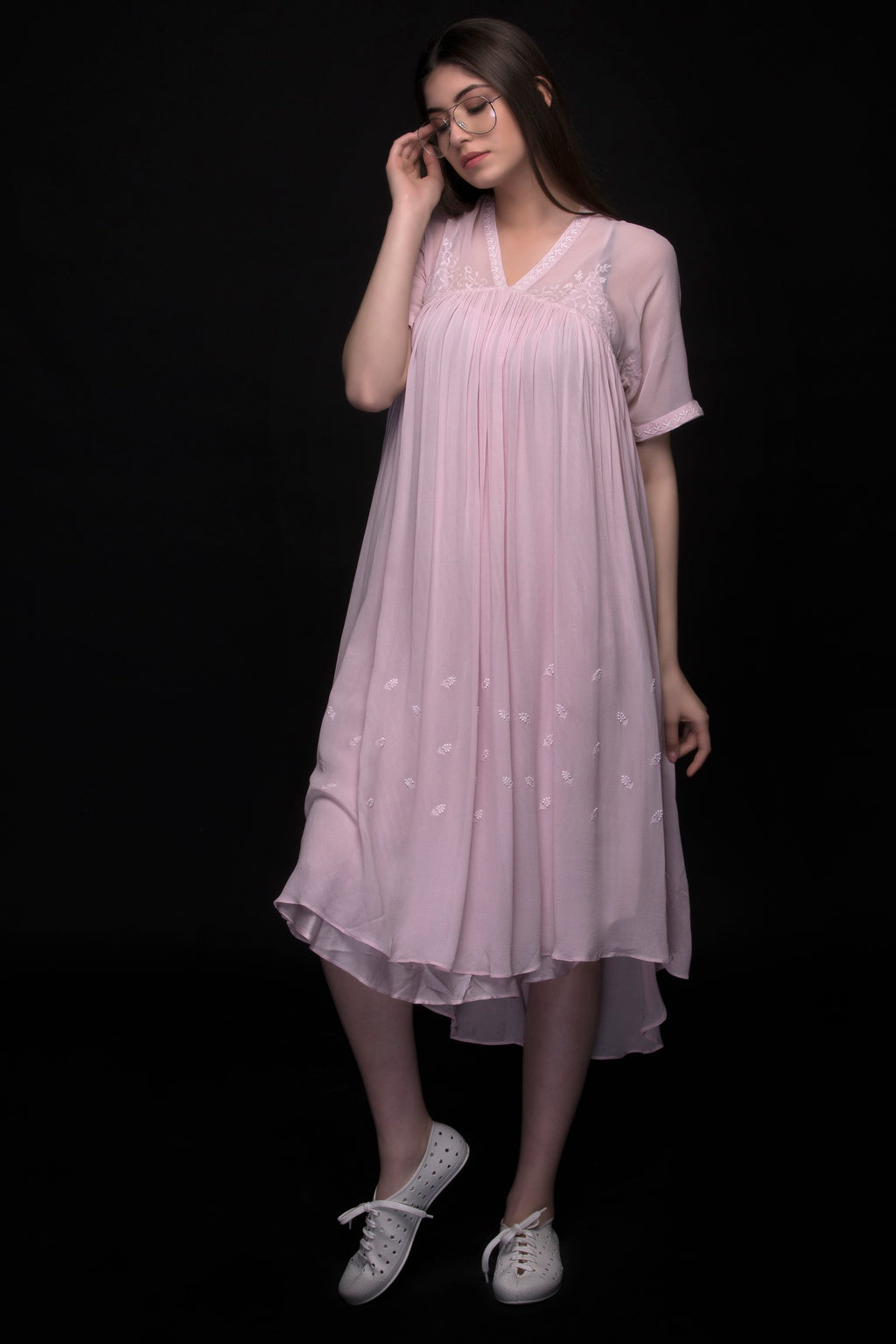 Baby Pink Pure Silk Chiffon Dress