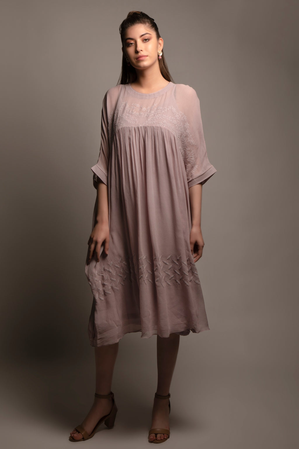 Lavender Pure Silk Chiffon Dress