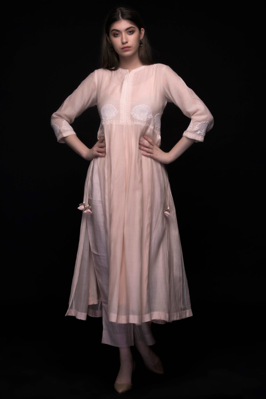 Light Peach Chanderi Dress