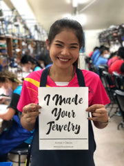 Astor + Orion Fashion Revolution campaign female factory worker I made your jewelry
