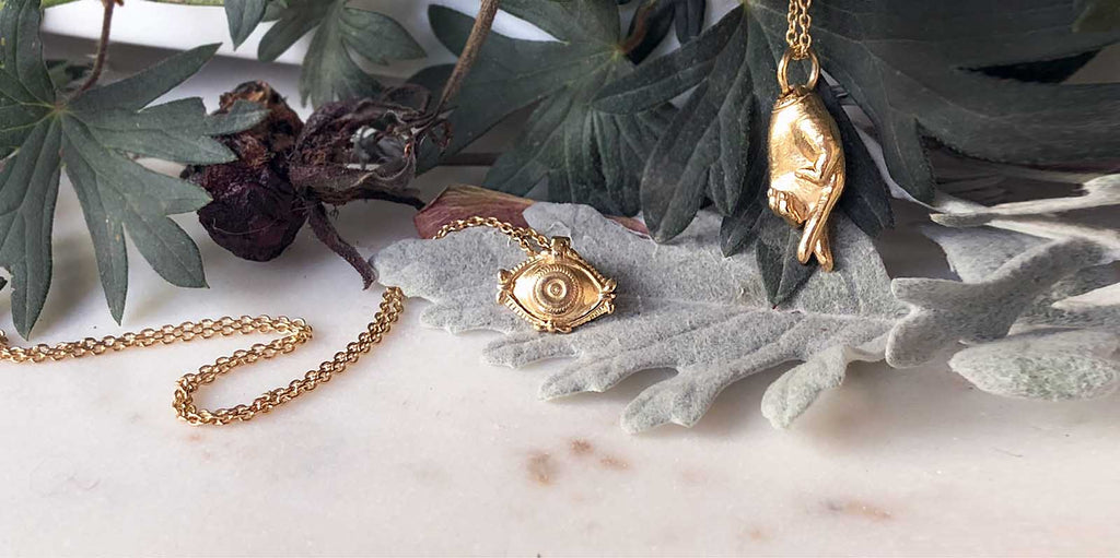 Evil Eye Protection Charm Necklace in Gold. Ethical Jewelry From Recycled Metals
